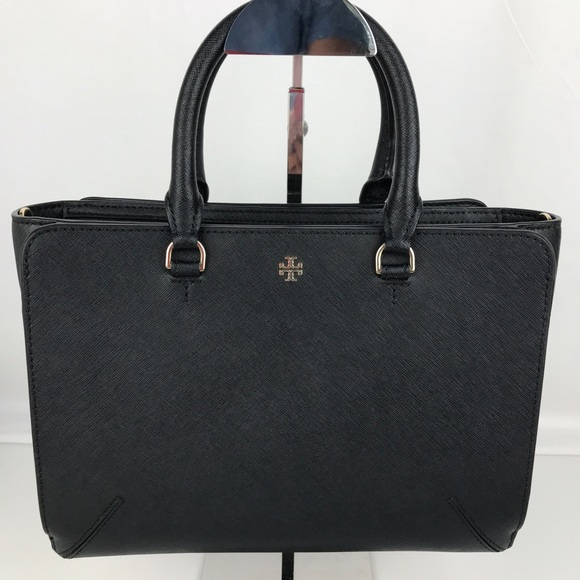 358b09a2e40 Tory Burch Robinson Small Zip Black Leather Tote